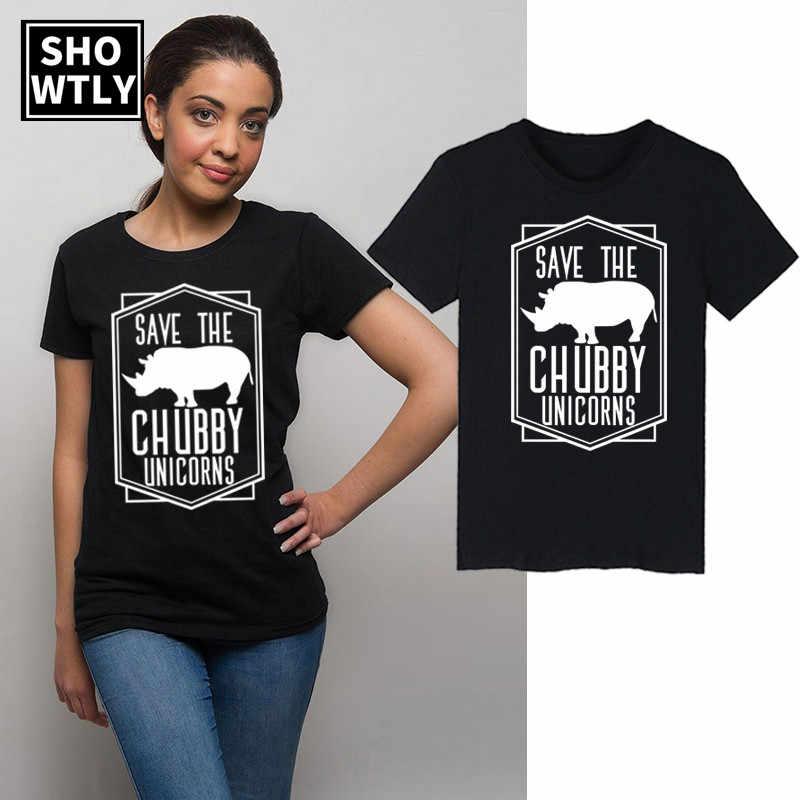 Showtly Rinoceronte Salvare Il Paffuto Unicorno Divertenti T-shirt delle Donne Tee Magliette e camicette Grafici Foodie Regalo Divertente manica Corta