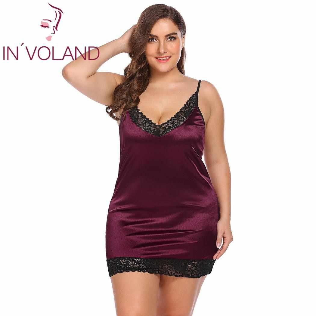 1e3527428b ... IN VOLAND Plus Size Women Sleepwear Sexy Lingerie Dress XL-5XL Robe  Night Dress ...