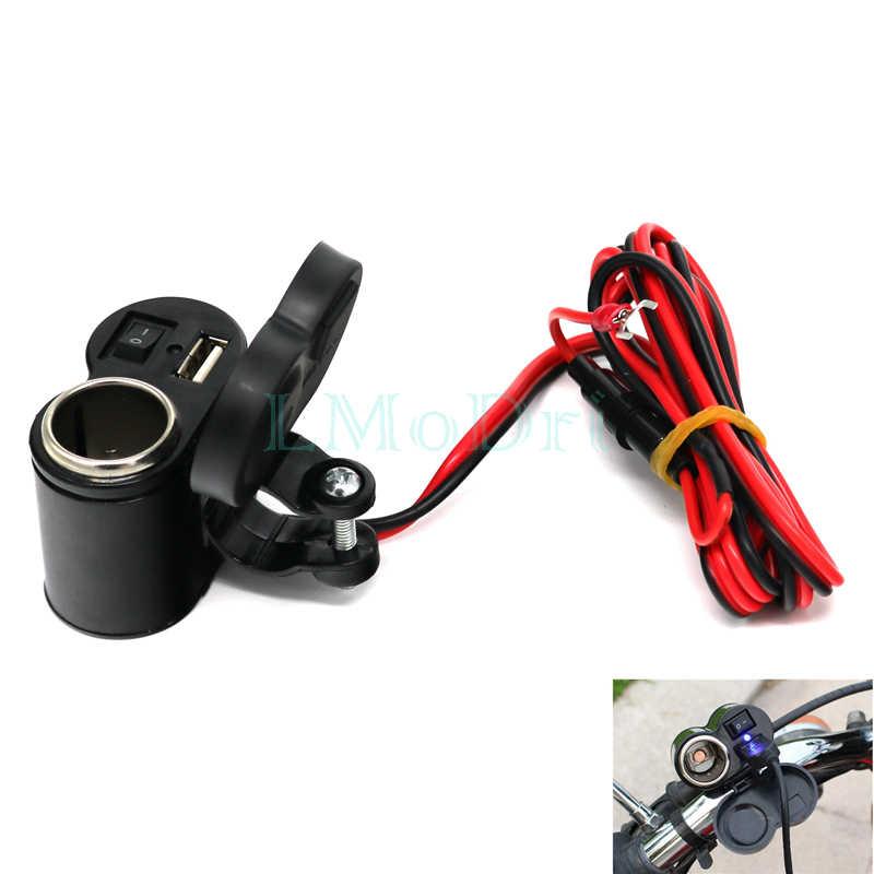 LMoDri Motorcycle 12/24V Cigarette Lighter Socket Motorbike Handlebar Waterproof Power Port USB Charger Adapter For Phone GPS