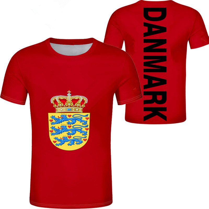 DENMARK Male Youth Free Custom Made Print Photo Dnk T Shirt Nation Flag Danish Kingdom Country Danmark Dk Casual Boy Clothes