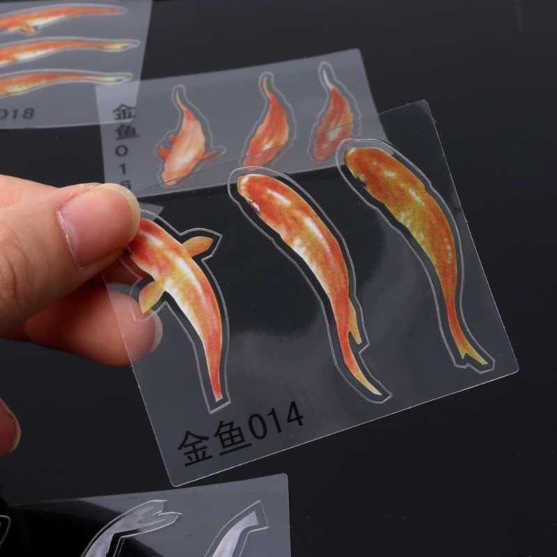 10 PC 3D Nyata Ikan Mas Jelas Film Stiker untuk Resin Lukisan DIY Membuat Perhiasan