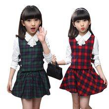 Весна-осень комплект одежды для девочек в клетку 3 шт./компл. из хлопка для девочек, школьная форма, комплекты подростковой одежды, костюмы для девочек, комплекты одежды