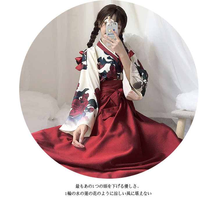 Girls Japanese Style Retro Kimono Floral Long Sleeve Woman Party Dress Summer Fashion Outfits Top Bow Skirt Haori for Female 2