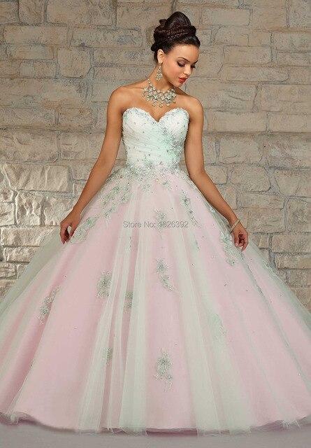 Belas apliques de renda vestidos de comprimento vestidos de Quinceanera vestido para 15 anos Debutante vestido