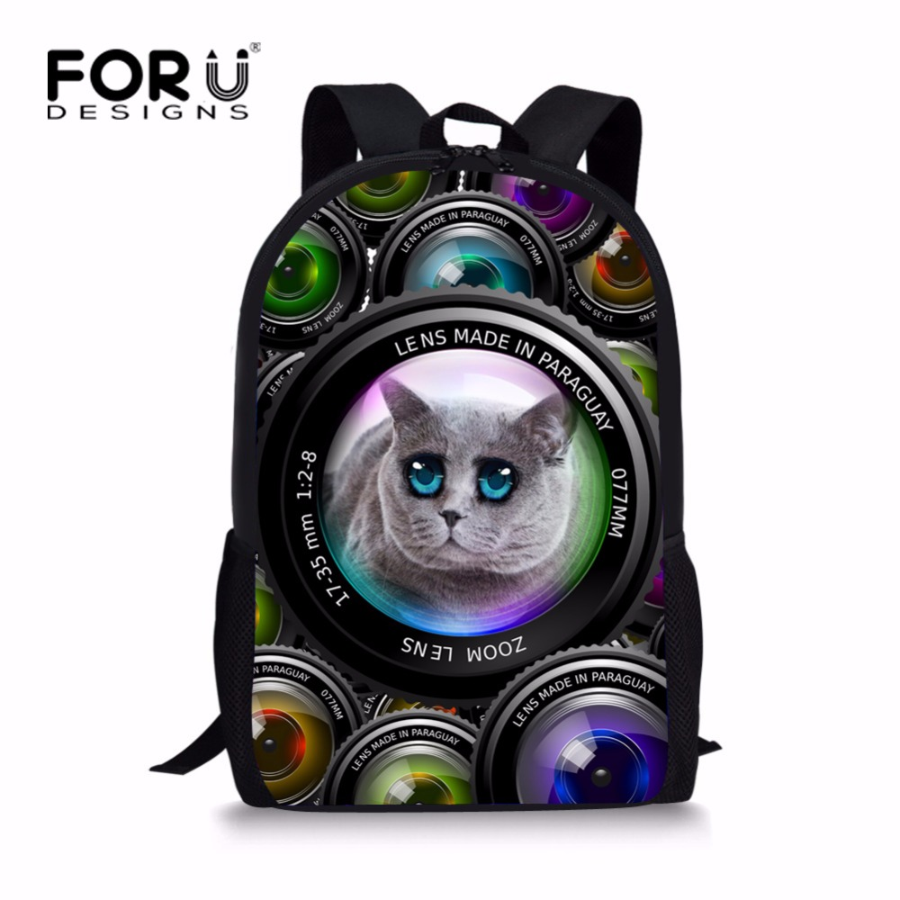 FORUDESIGNS Cute Printing Cat Dog School Bag for Teenager Girls Fashion Primary Children Schoolbags Elementary Kids Bookbags