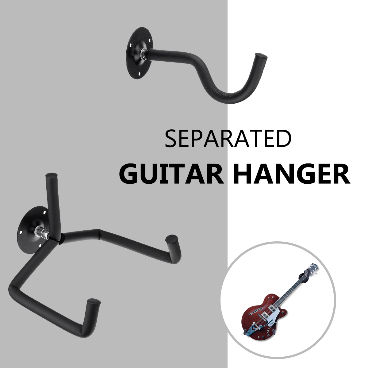 Black Guitar Stand Hanger Hook Oak Horizontal Guitar Wall Mount Stand Holder Rack Bracket + 2 Screw Set Display For Most Guitar