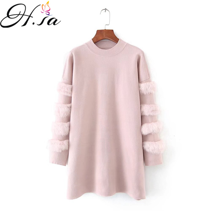 H SA Women Spring Winter Long Sweaters Casual Turtleneck Pullover and Jumpers Real Rabbit Fur Sweater