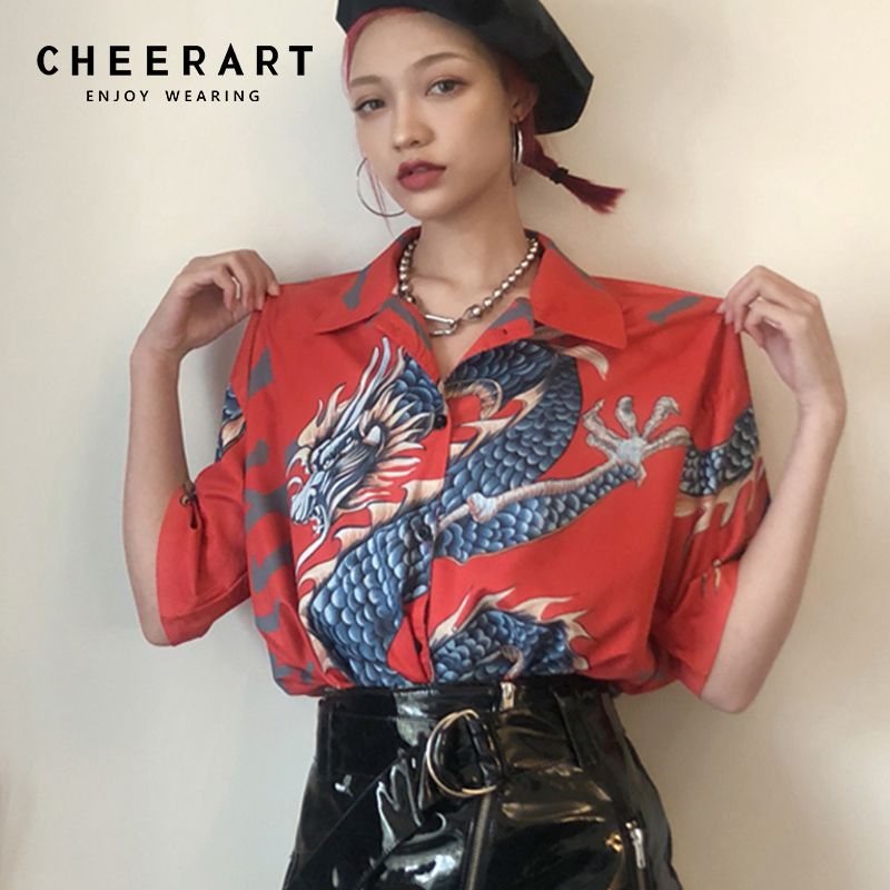 Cheerart Harajuku Blouse Women Dragon Print Short Sleeve Shirt Summer Tops And Blouses Femme Streetwear Japanese Платье