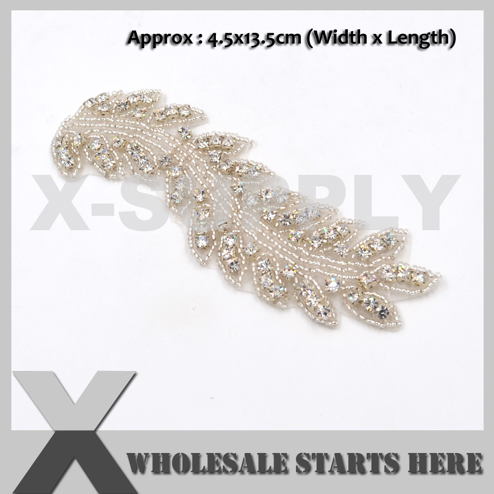 (13cm Length) Iron On Clear Rhinestone Applique Patch for Wedding Dress,Baby Hair Decoration,X1-RAT2235