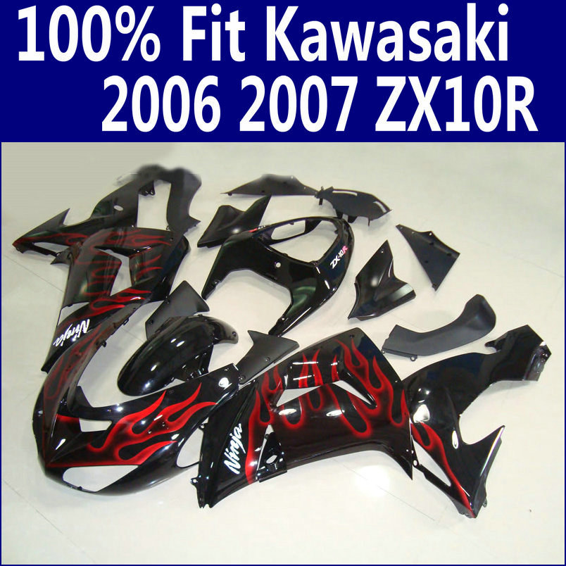 ABS full Fairing kit for Kawasaki ZX10R 2006 2007 red flames in black plastic fairings set Ninja ZX-10R 06 07 body kits ZS26 red for yamaha yzf r25 r3 13 16 14 15 motorcycle rear fender dust mudguard with chain guard fairing tire wheel hugger protector
