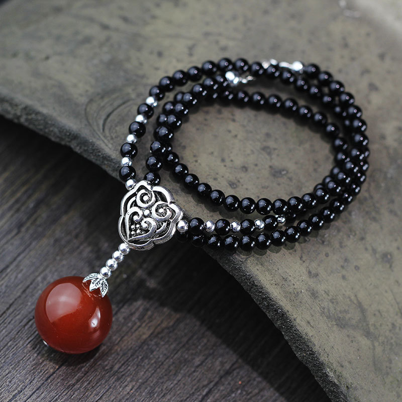 Collier L & P Vintage en argent pur fait à la main en Agate noire pour femmes fille Thai argent rétro perles collier bijoux fins