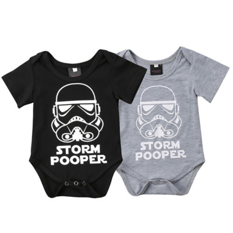 2018 New Storm Pooper Romper For Boys Girls Casual Summer Baby Boy Girl Short Sleeve Star Wars Romper Newborn Baby Clothes 0-18M