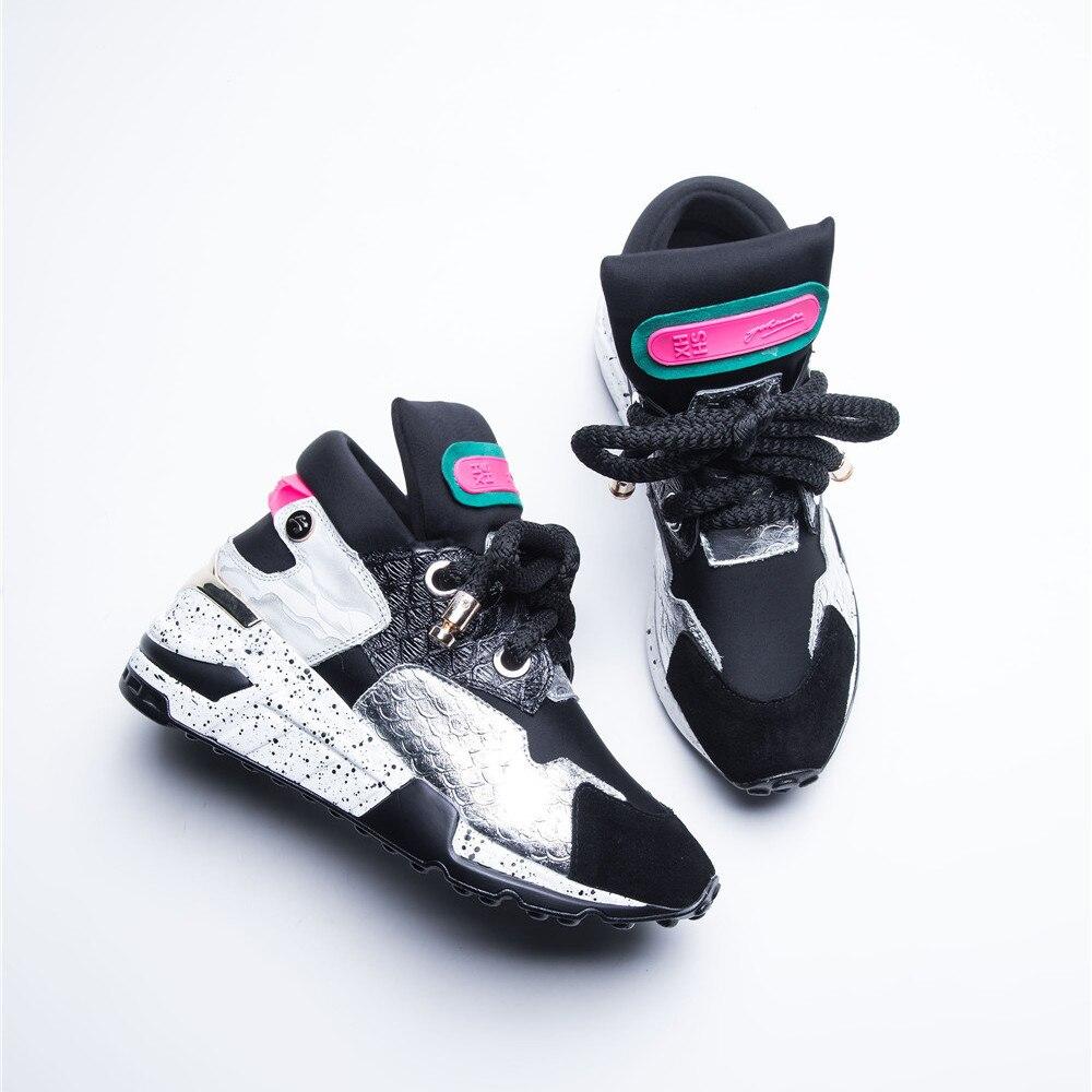 scarpe calda vera nuove pelle donna multi vendita in Asumer punta sneakers sintetica rotonda stringate quattro nero zeppe stagioni casual qt5A7BPw