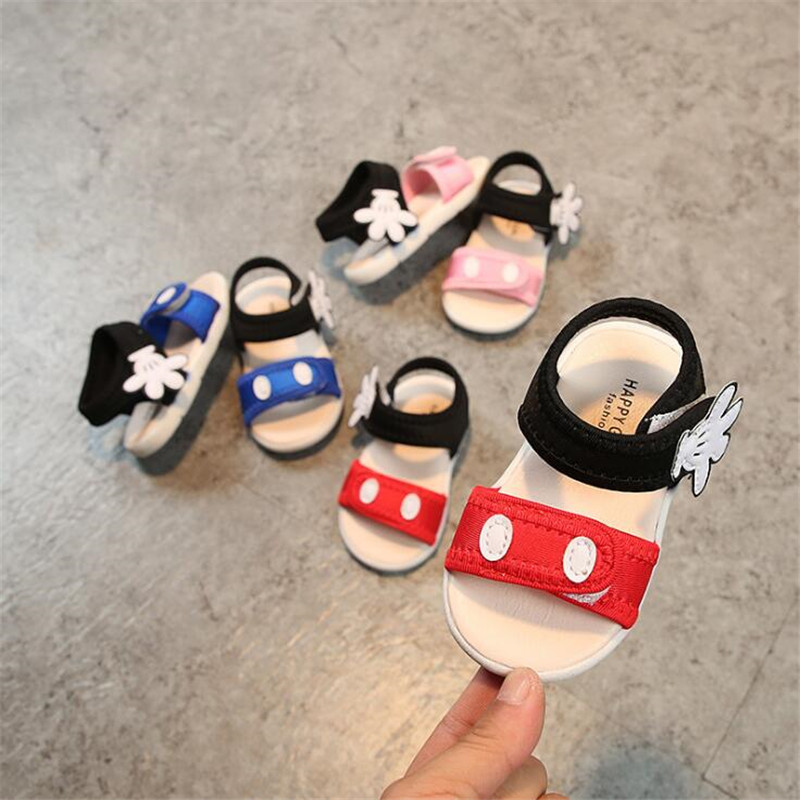 2018 Summer Baby girls boys sandals kid beach infant toddler sandals with mickey hand 3colors 15-19 0-1.5years TX05