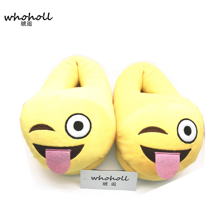 Slippers Qq Expression Cartoon Plush Slippers Smiley Face Shit Demon Whole Heel Household Slippers Warm Cotton Parent-child Drag Punctual Timing Slippers