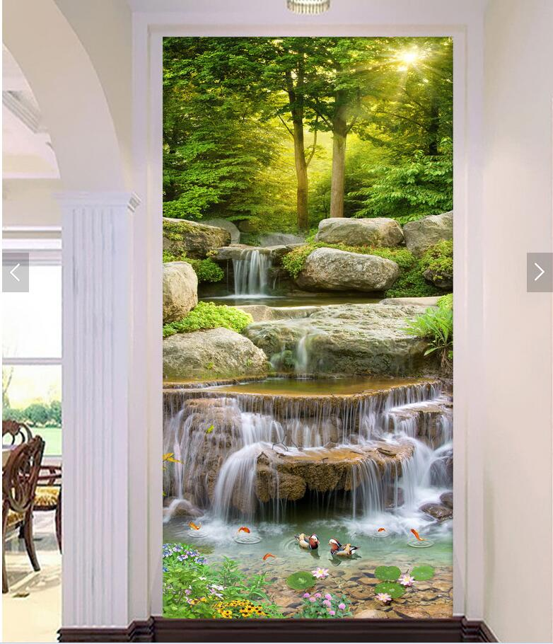 3d room wallpaper custom non-woven photo mountain waterfalls running water porch painting picture photo 3d wall murals wallpaper custom photo 3d wall murals wallpaper mountain waterfalls water decor painting picture wallpapers for walls 3 d living room