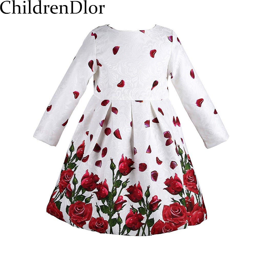 Girls Dress 2017 Brand Princess Dresses with Rose Flower Print Robe Fille Enfant Kids Dresses for Girls Clothes 3-8Y girls dresses summer 2016 brand christmas dress princess costume robe fille enfant floral print kids dresses for girls clothes