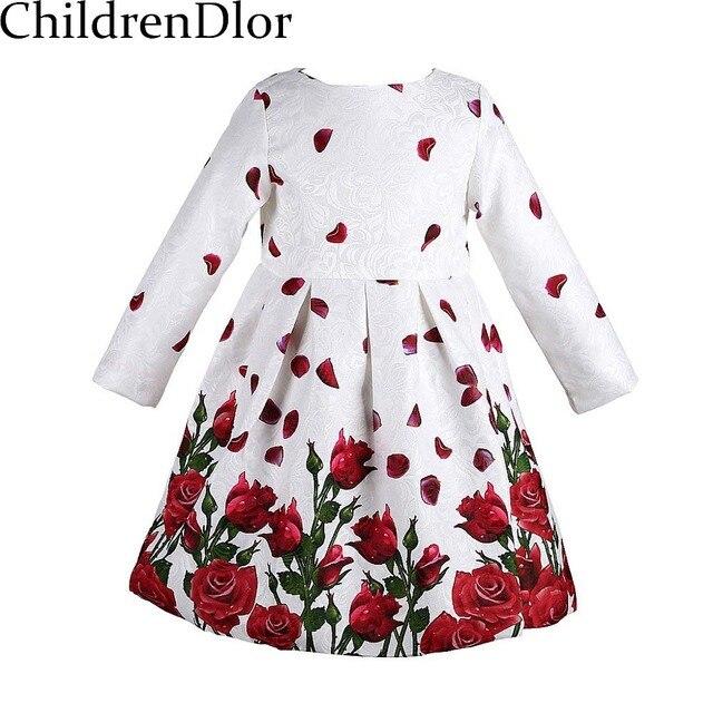 Vestido de las muchachas 2017 de la Marca de Vestidos de Princesa con la Flor de Rose Imprimir Bata Enfant Fille Niños Vestidos para Niñas Ropa 3-8Y