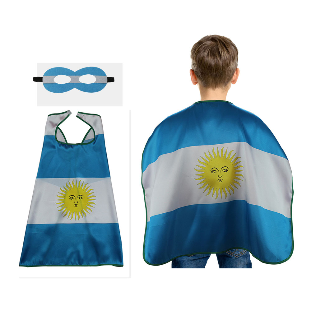Special L 27* Argentina flag child cape mask decorations Cloak Olympic International Festival football fan gifts cosplay