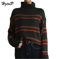 Women Casual Autumn Striped Crochet High Neck Sweaters Fashion Knitted Pullovers Sweaters Top Rebecas Mujer Women