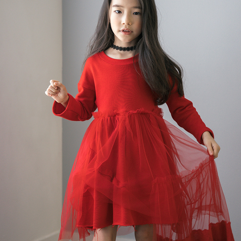 kids dresses for girls winter autumn 2017 new with tail red long sleeve princess dress girl 6 10 14 11 year children clothing
