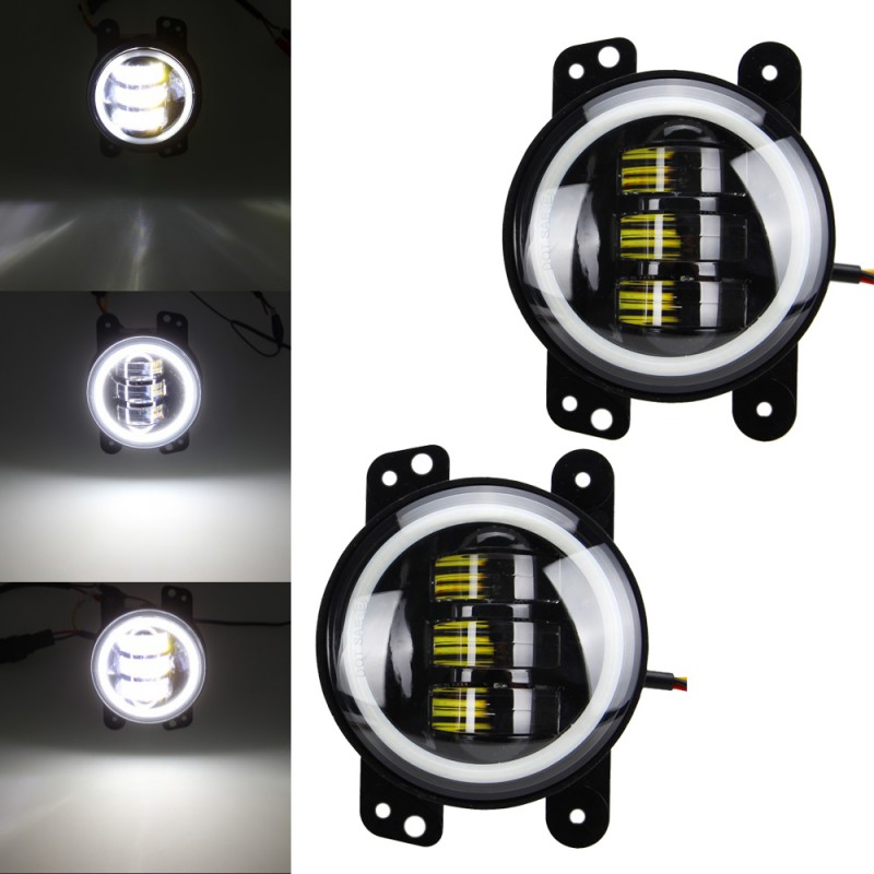 Pair 4 inch 30W LED Fog Light Driving Lamp DRL For Jeep Wrangler JK 2007 2015