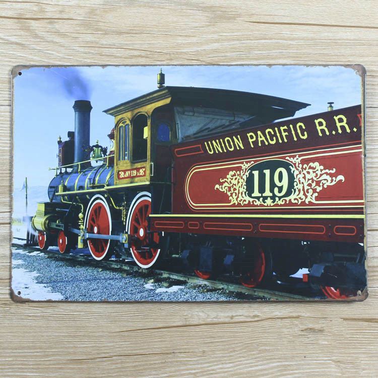 Ro 0167 Union Pacific Train Vintage Home Decor Metal Tin Signs For Bar Wall Art