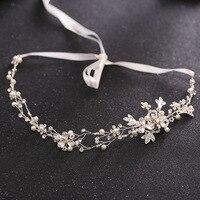 Handmade Pearl Crystal Headbands Tiaras Rhinestone Silver Gold Headpieces Crowns Wedding Hair Accessories Bridal Jewelry 388