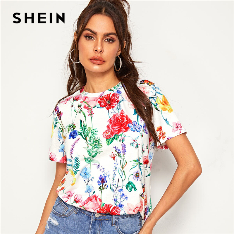 SHEIN Allover Floral Print Tee Multicolor Summer Top Women Short Sleeve Round Neck 2019 Ladies Casual Tshirt Tops