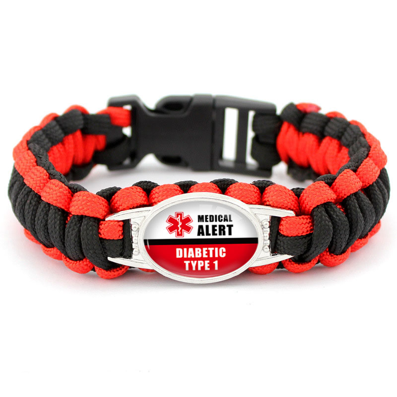 Diabetic Type 1 2 Medical Alert Paracord Bracelet For Man Women Glass Cabochon Outdoor Camping Survival Lifesaving Bracelet