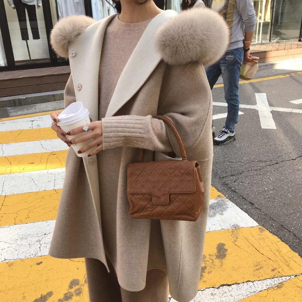 Korean Fashion Bat Style Warm Cashmere Wool Coat with Real Fox Fur Trim Hood Double-sided Thickened Trendy Women Clothes 2019