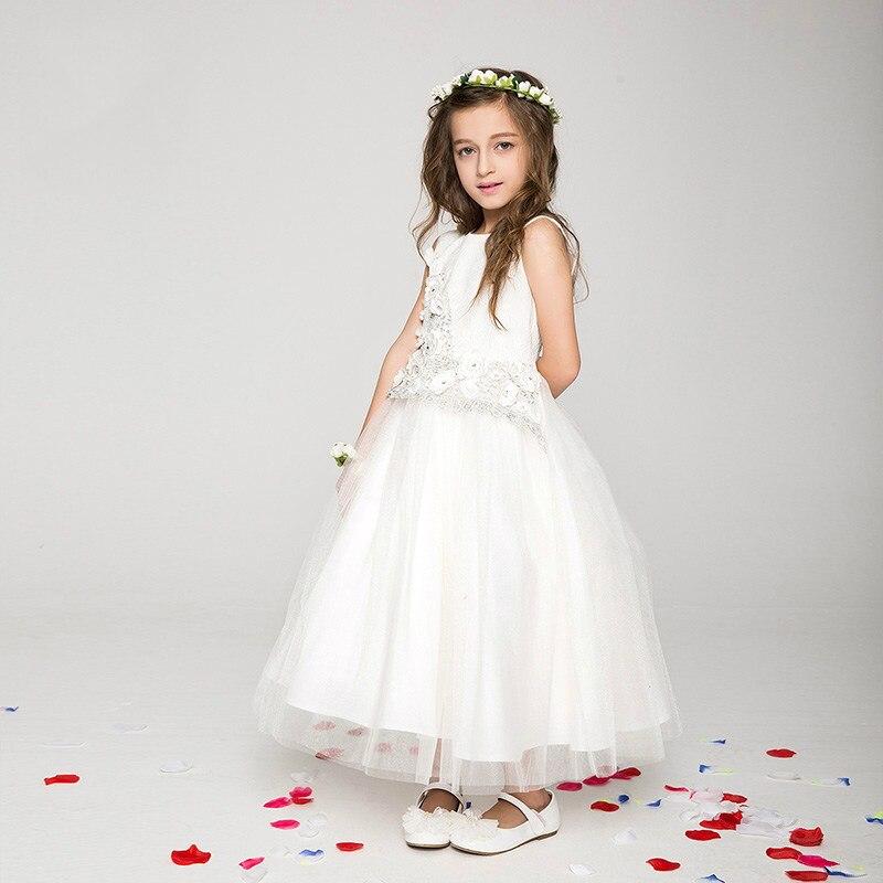 Girls Party Dress 2016 Ivory Elegant Baby Girl Princess Tutu Dress Long Frocks Dress For Age 2 3 4 5 6 7 8 9 10 11 12 Kids