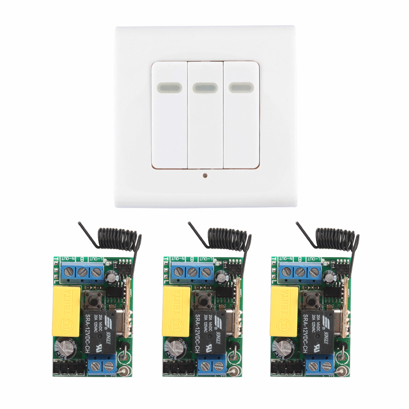 Smart Home AC 220V 3CH Channel Remote Control Switch Wall Panel Wall Transmitter Remote Room Stairway Light Lamp Bulb LED RX TX ac 180 240v double key wall switch remote control 10a relay smart home ceiling lamp light led bulb remote control switch