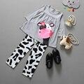 2016 vestidos de fábrica al por menor sistema de la ropa de la Vaca modelado ropa ocasional del algodón de manga larga t-shirt + Pantalones traje chándal 2 unids