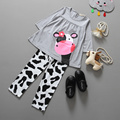 2016 vestidos manufactory retail clothing set Cow modeling clothes cotton casual long-sleeved T-shirt+Pants suit Tracksuit 2pcs