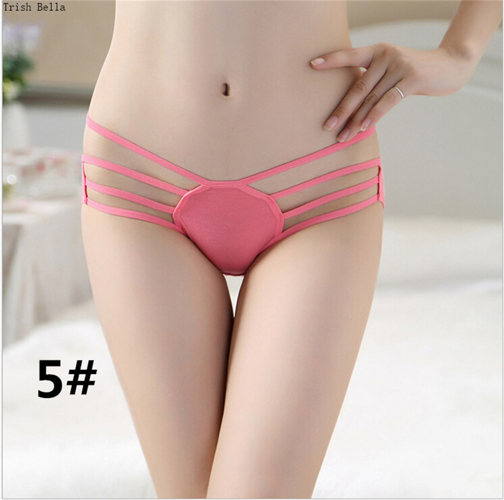 Trish Bella 2018 new Solid color Bamboo fiber Hollow String Bow triangle sexy lingerie panties women string calcinha tanga thong in women 39 s panties from Underwear amp Sleepwears