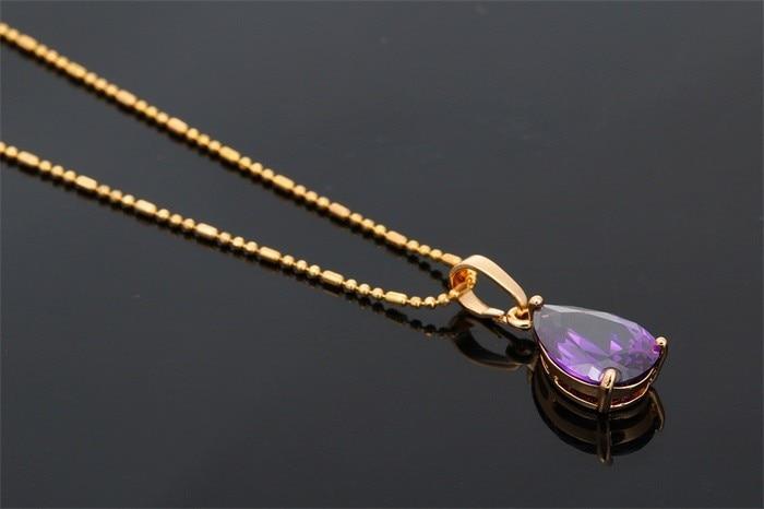 """Oro amarillo Color Pear Cut CZ Púrpura Pequeño Pendientes de Lágrima colgante de Collar De Moda Mujeres Niñas Joyería de Sets de Regalo 18 \""""45 cm"""
