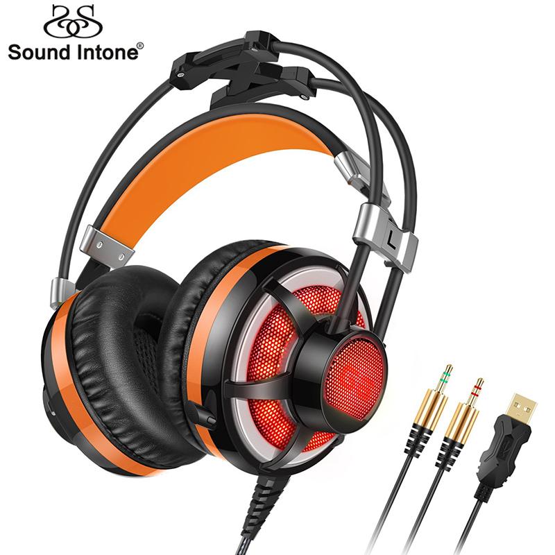 Prix pour Sound intone g6 stéréo surround virtuel gaming headset avec microphone filaire casque led vibrations pour pc portable ps4