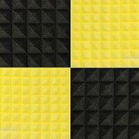 12PCS Black Yellow 50 X 50 X 5cm Acoustic Panels Soundproofing Studio Foam Treatment Sound Proofing