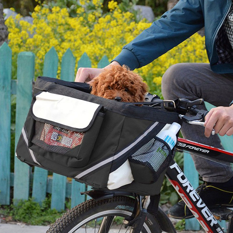 Bicycle Carriers Basket for Pet Dog Cat Safe Bike Basket with Pocket Shoulder Carrier for Small Dogs Puppies Cats 3 Colors