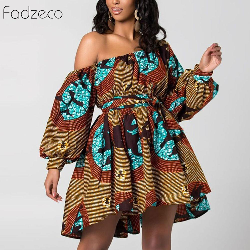 Fadzeco New Fashion African Dresses For Women Tilting Shoulder Two Wear Dashiki African Style Print Rich Bazin Dashiki Top