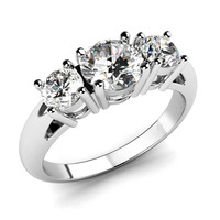 2015 Latest Design Romantic Ring Jewelry Stainless Steel Zirconia CZ 3 Stone Engagement Ring Size 5
