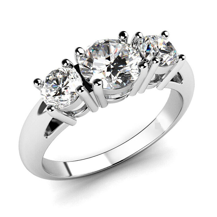 2015 Latest Design Romantic Ring Jewelry Stainless Steel Zirconia CZ 3 Stone Engagement Ring Size 5 To 8