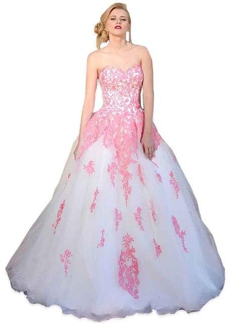 Vestidos De Noivas baratos novia De color rosa Appliques blancos ...