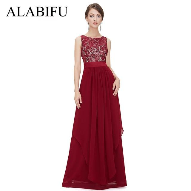 ALABIFU Long Summer Dress Women 2019 Sexy Backless Sleeveless Lace Dress Elegant Maxi Wedding Party Dresses Black/Red vestidos