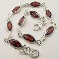 Silver RED GARNET SEMI PRECIOUS GemS LOVELY Bracelet 20.1 CM