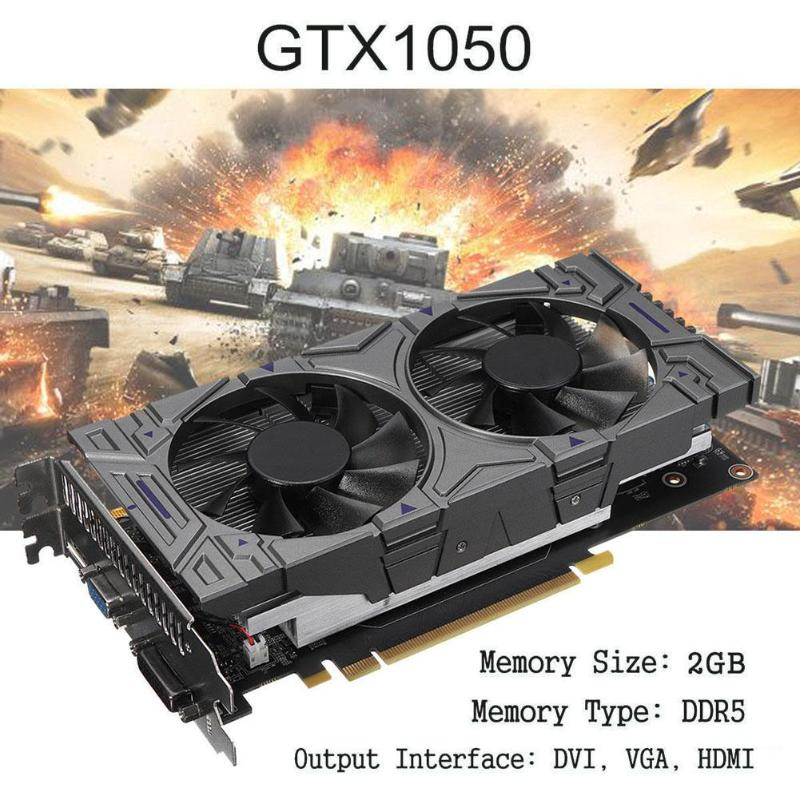 Graphics Card GTX 1050 2GB DDR5 128Bit VGA DVI HDMI Video Graphics Card for NVIDIA GeForce with Dual Cooling Fans computer pc vga cooler fans graphics card fan for galaxy gtx960 gtx 960 video card cooling