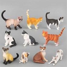 Farm Simulação Mini Gato Modelo Animal Pequeno de Plástico Figuras de Decoração Para Casa Acessórios de Decoração de Presente Para Crianças Brinquedo Estatueta Estátua