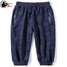ขนาดใหญ่ผู้ชายผ้าฝ้ายฤดูร้อนกางเกงขาสั้น Camo PLUS 6XL 7XL 8XL 3/4 ความยาวกางเกงผู้ชายกระเป๋า Camouflage ชายกางเกง