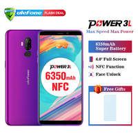 Ulefone Power 3L 6.0 HD+ Android 8.1 Mobile Phone MTK6739 Quad Core 2GB+16GB NFC 13MP+5MP Camera 6350mAh Face ID 4G Smartphone